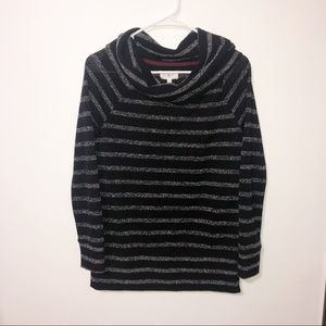 Lou & grey black & gray striped cowl neck top XS